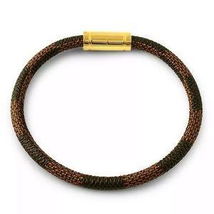 Designer Style Brown Checkered Leather Bracelet